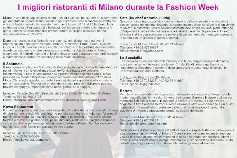 Migliori ristoranti Milano Fashion Week