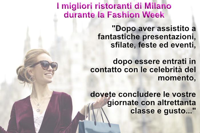 Ristoranti Fashion Week Milano